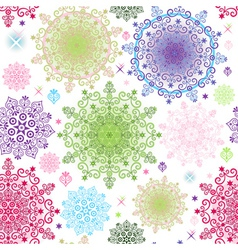 colorful pattern with lacy vivid circles vector image