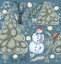 colorful winter seamless pattern with snowman and vector image