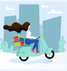 delivery service with female character vector image