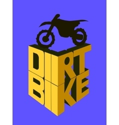 Dirt bike 3d words vector