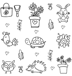 Doodle of spring collection hand draw vector image