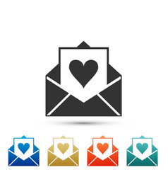 envelope with valentine heart icon isolated vector image