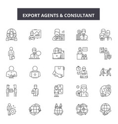 Export agents line icons signs set vector