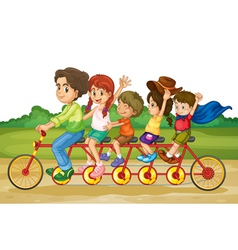 Family on tandem bike vector
