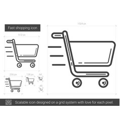 Fast shopping line icon vector