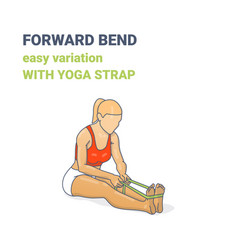 Female paschimottanasana easy variation with yoga vector