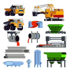Flat steel production metallurgy icon set vector