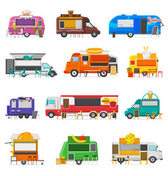 food truck street food-truck vehicle and vector image
