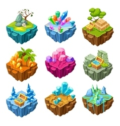 Gaming Islands With Stones Isometric Set vector