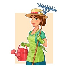Gardener girl with rake and vector