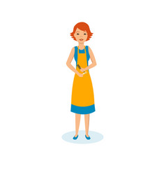 Girl hairdresser in apron with scissors and comb vector