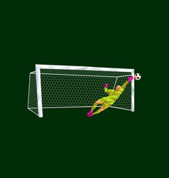 goalkeeper soccer football player low-poly style vector image