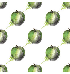 Green apple seamless pattern vector