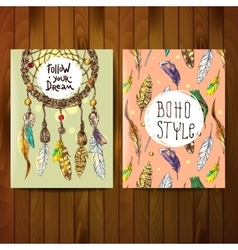 Hand drawn boho vector