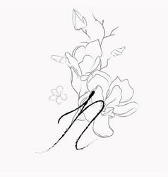 Handwritten line drawing floral logo monogram n vector
