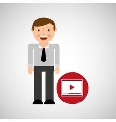 Happy man icon play social network design vector