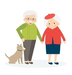 Happy old couple together Seniors couple with dog vector image