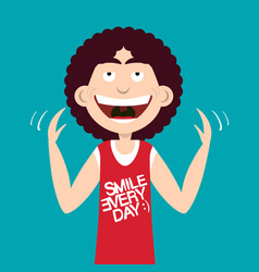 Happy smiling man with smile every day slogan on vector