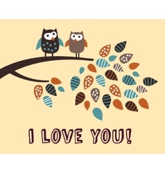 I love you owl bird card vector