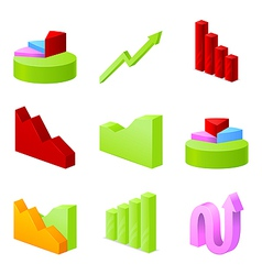 Icons fo business chart collection vector