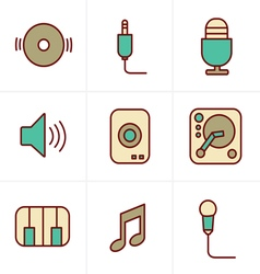 Icons Style Music Icons Set Design vector
