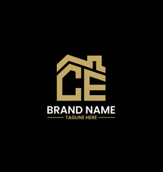 initial letter c and e with roreal estate vector image