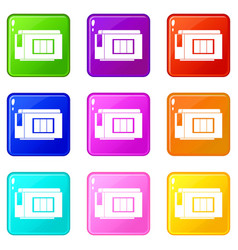 Inkjet printer cartridge icons 9 set vector