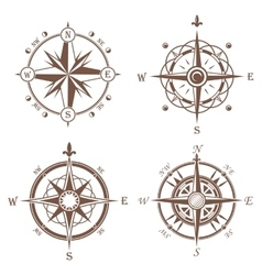 Isolated vintage or old compass rose icons vector