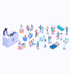 isometric medical workers and vector image