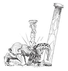 Jester statue vintage vector