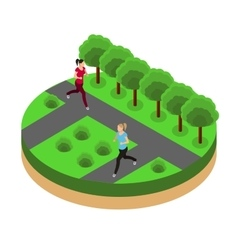Jogging in the park isometrics vector
