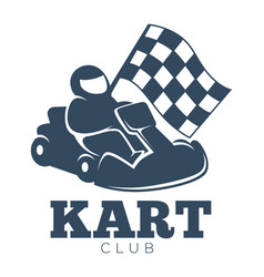 Kart club promotional monochrome emblem with racer vector