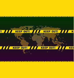 keep out police yellow ribbon warning signs vector image