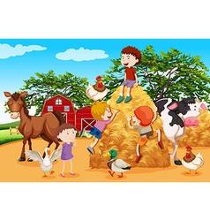 Kids playing in farmyard vector