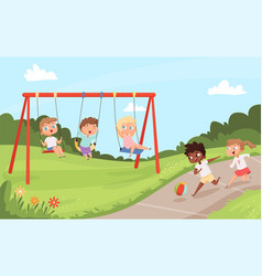 Kids swing rides outdoor happy walking and vector