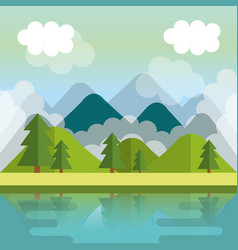 Landscape with mountains and lake scene vector