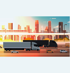 Large semi truck with trailers highway road with vector