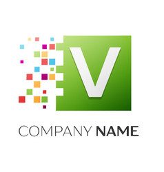Letter v logo symbol in the colorful square vector