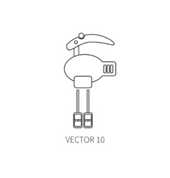 Line flat kitchenware icons - mixer vector