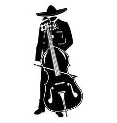 Mariachi with double bass black template vector