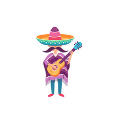 mexican guy with guitar vector image