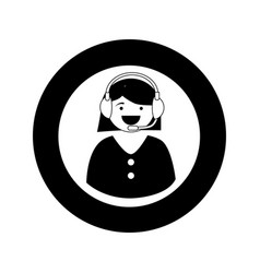 monochrome circular emblem with female customer vector image