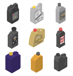 Motor oil icons set isometric style vector