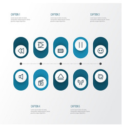 multimedia icons line style set with sync earmuff vector image