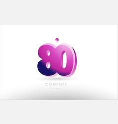 number 80 black white pink logo icon design vector image