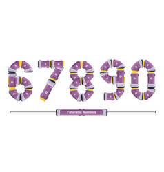 numbers typography font futuristic style in a set vector image