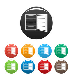 Open refrigerator icons set color vector