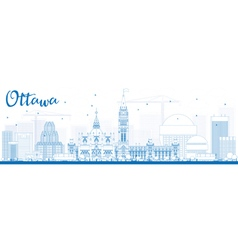 Outline Ottawa Skyline with Blue Buildings vector