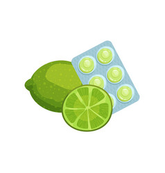 package of lozenges with lime fruit flavor taste vector image