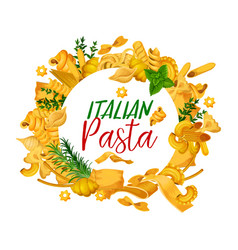 Pasta menuwith frame of italian pastry vector
